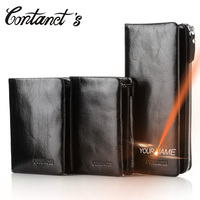 Contact S Men Wallets Leather Genuine With Coin Pocket Luxury Brand Cell Phone Purse Long Male