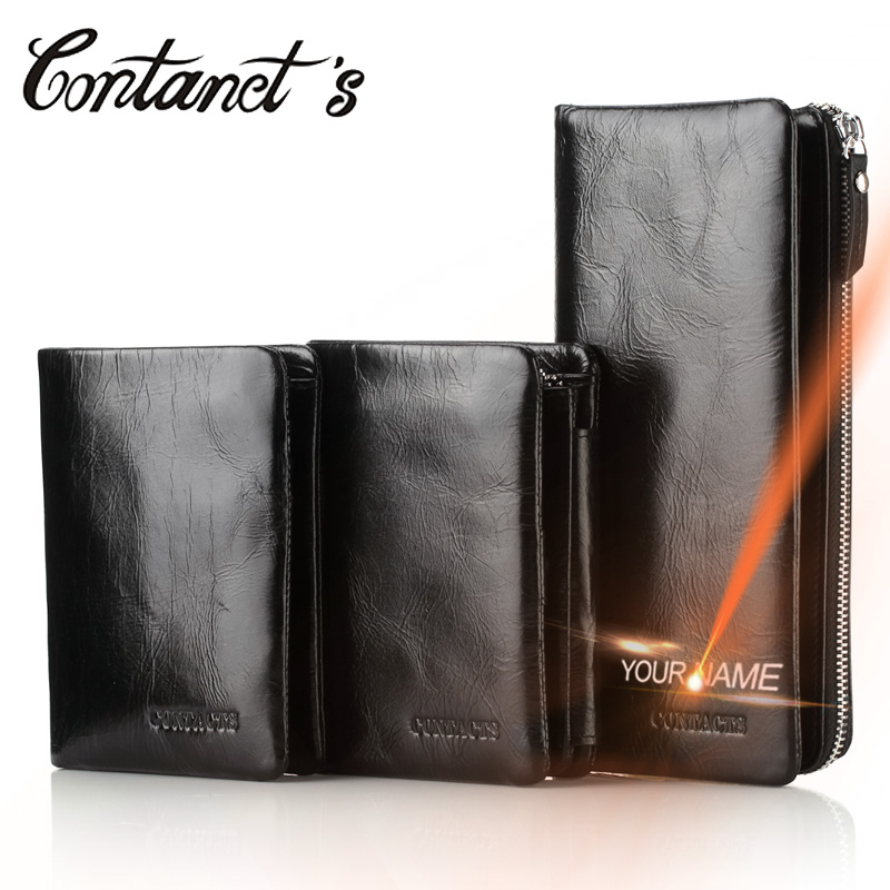 Contact's Men Wallets Leather Genuine With Coin Pocket Luxury Brand Cell Phone Purse Long Male Clutch Bag With Money Card Holder genuine leather men business wallets coin purse phone clutch long organizer male wallet multifunction large capacity money bag