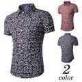 Hot 2016 Ney Marca Mens ropa Hawaiano Camisa Masculina camisa masculina Moda Casual de Playa Impresa de Manga Corta Camisetas Homme