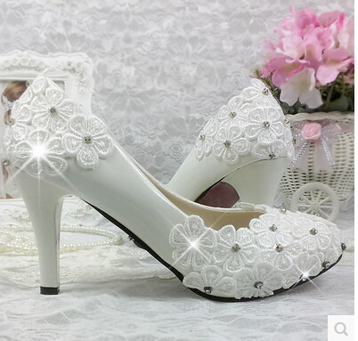 100 Real Photos Handmade Wedding Shoes White Women S Med High Heels Platforms Bridal Brides Party Dance Pumps In Stock From