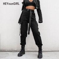 Женские брюки-карго HEYounGIRL, черные повседневные свободные брюки с высокой талией в Корейском стиле, Капри