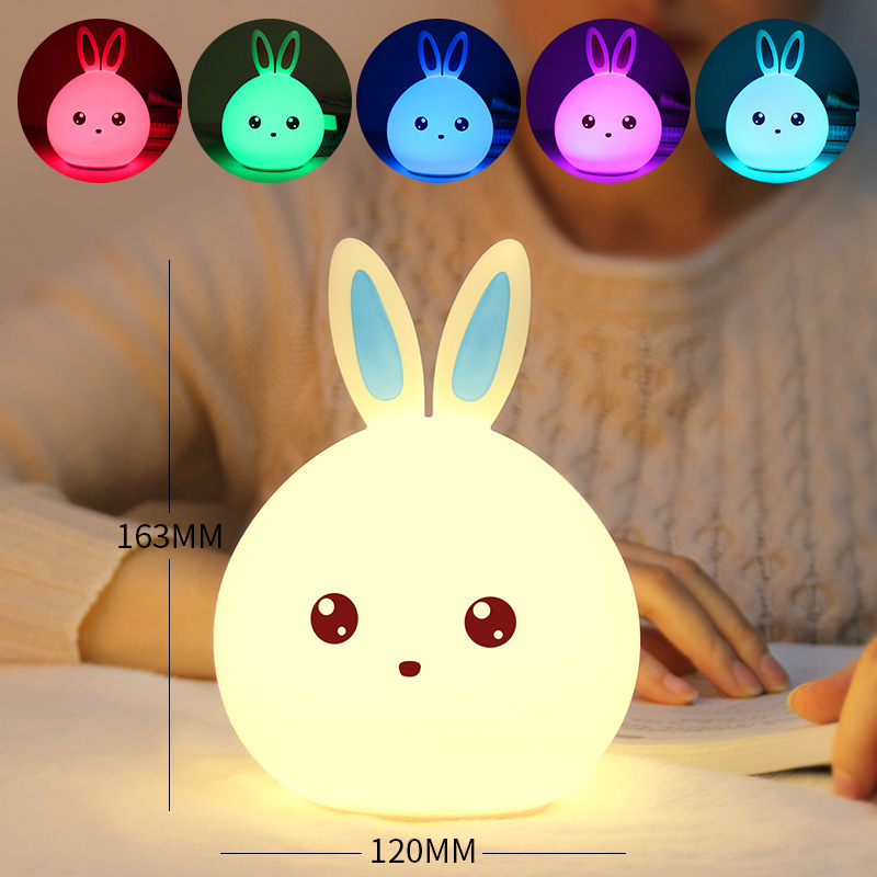Rabbit LED Night Light Soft Silicon Table Lights Multicolor Touch Sensor Tap Lighting For Children Baby Kids Bedside Lamp D-Kamt