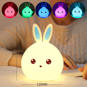 Rabbit LED Night Light Soft Silicon Table Lights Multicolor Touch Sensor Tap Lighting For Children Baby Kids Bedside Lamp D-Kamt(China)