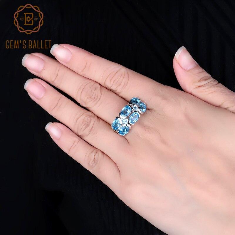 Gem s Ballet Unique Design 6 13Ct Natural Swiss Blue Topaz Rings 925 Sterling Silver Mona