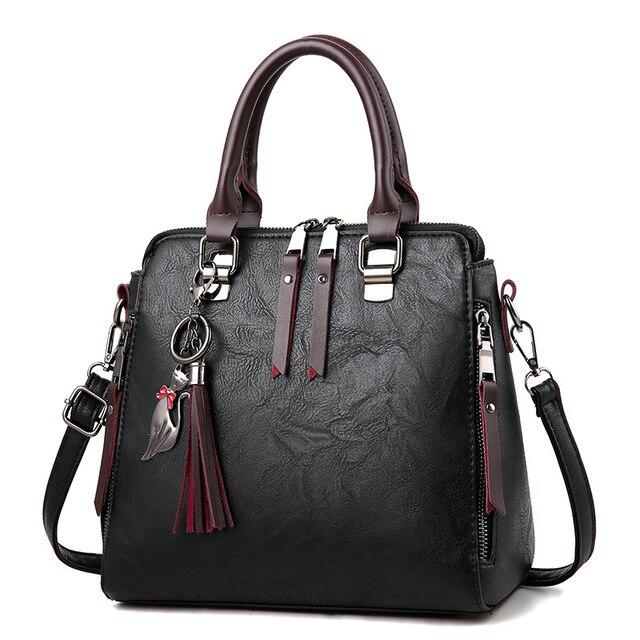 9426790a98 Vintage Leather Ladies HandBags Women Messenger Bags TotesTassel Designer  Crossbody Shoulder Bag Boston Hand Bags Hot Sale