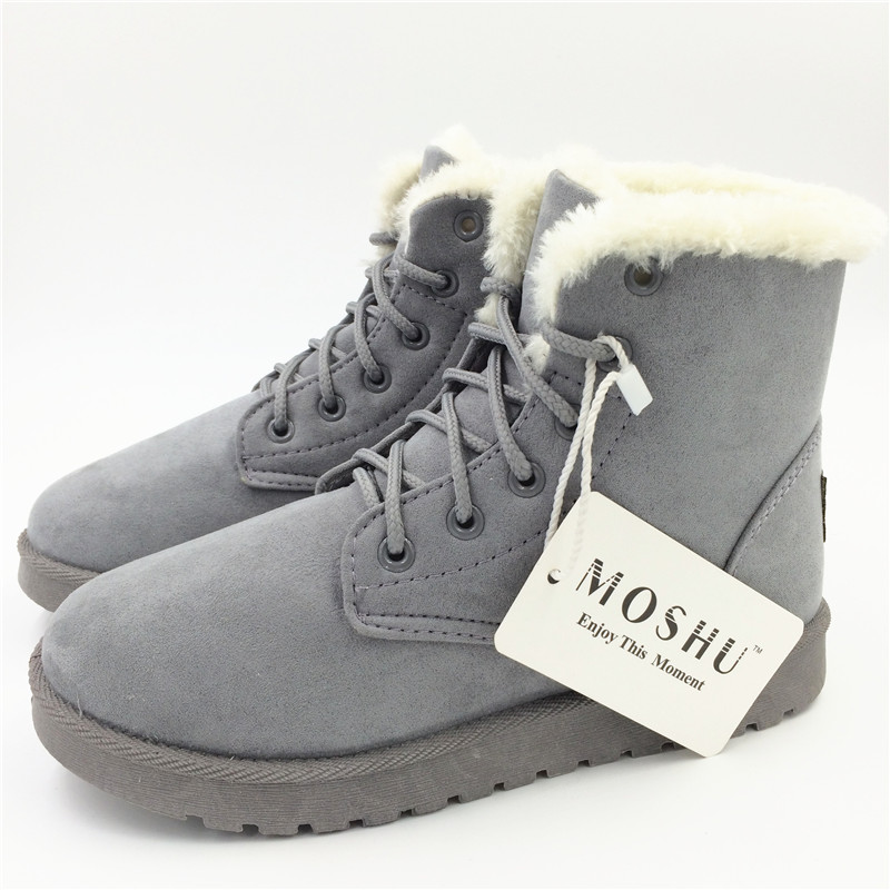 00dc3368dc8 US $11.81 46% OFF Classic Women Winter Boots Suede Ankle Snow Boots Female  Warm Fur Plush Insole High Quality Botas Mujer Lace Up-in Ankle Boots from  ...