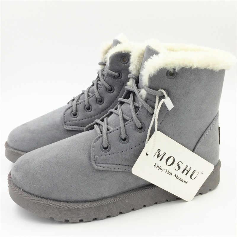 Classique femmes bottes d'hiver en daim cheville neige bottes femme chaud fourrure en peluche semelle intérieure de haute qualité Botas Mujer à lacets