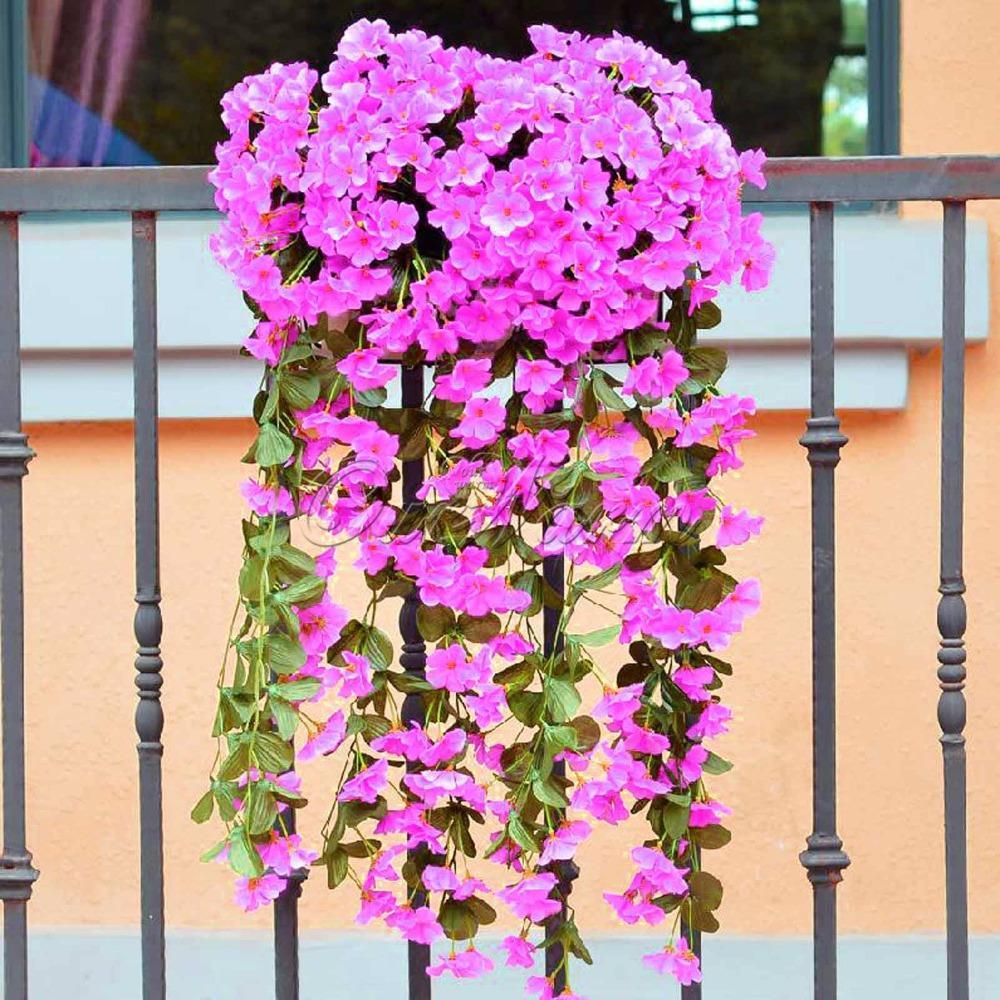 ̀ •́ Romántico flores artificiales colgante orquídea flor falsa para ...