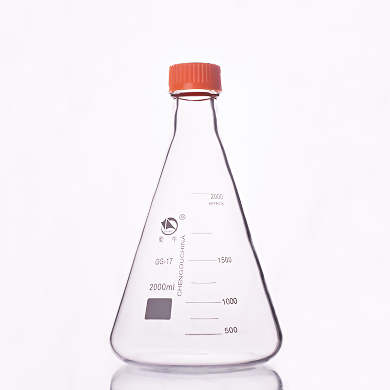 Thread river mouth triangle reagent bottle,With yellow screw cover,Borosilicate glass 3.3,Capacity 2000ml,yellow cap  One-piece brown reagent bottle with yellow screw cover borosilicate glass 3 3 capacity 10000ml graduation sample vials plastic lid