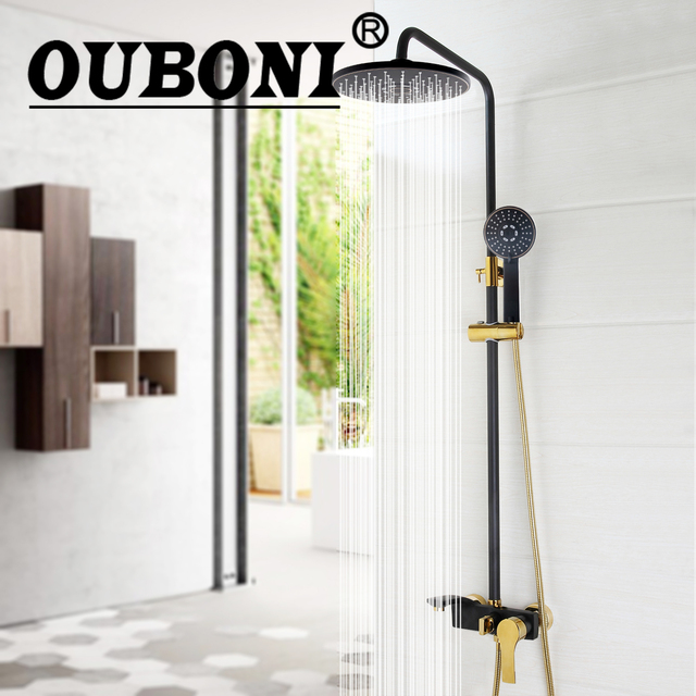 Us 101 61 33 Off Ouboni Round Luxury Bathroom Rain Mixer Shower Combo Set Wall Mounted Rainfall Head System Black Gold Plate Faucet In