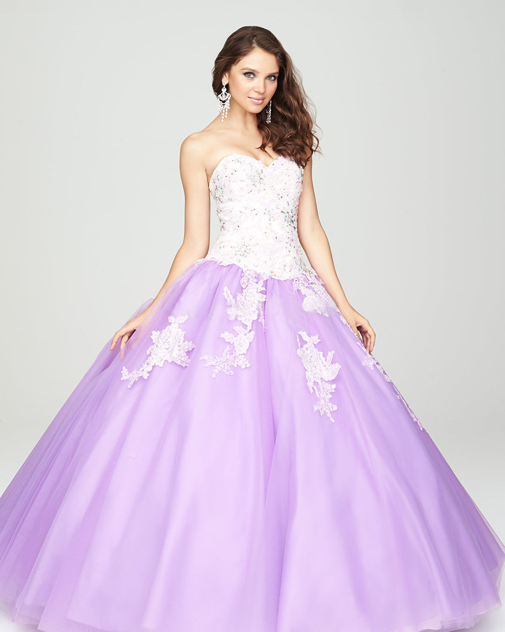 2015 Hot Sale Ball Gown Light Purple Dress 15 Years Lace Appliqued ...