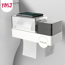 Waterproof Wall Mount Toilet Paper Holder Tray Roll Tissue Shelf Sanitary Cotton Box Garbage Bag Storage