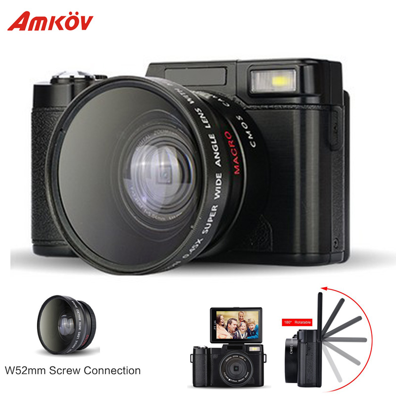 Prix pour AMKR2 Appareil Photo REFLEX Numérique Avec Objectif grand-angle Caméscope 8.0MP CMOS Max 24MP 3 pouce Rotatif Écran appareil photo numérique