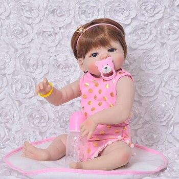 "Full body silicone reborn baby dolls 22""55cn NPK baby girl born lifelike child princess dolls gift bebe realistic reborn bonecas"