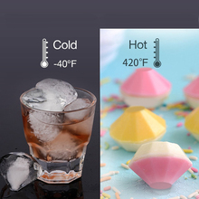 KHGDNOR 4 Holes Diamonds Shape Ice Cube Molds Diamond Ice Cube Maker Silicone Diamond Cube Tray