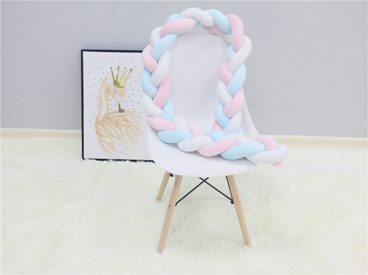 New Arrival Hot-selling 4M Baby Protect Colorful Handmade Long Soft Knot Pillow Braided Weaving Plush Crib Bed Bumper Decorative