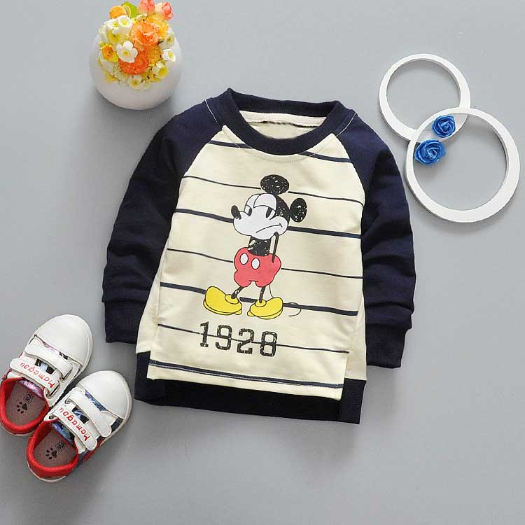 Spring-Children-clothing-girls-boys-babys-stripe-cartoon-Mouse-Letter-print-o-neck-long-sleeve-t-shirt-Y2041-1