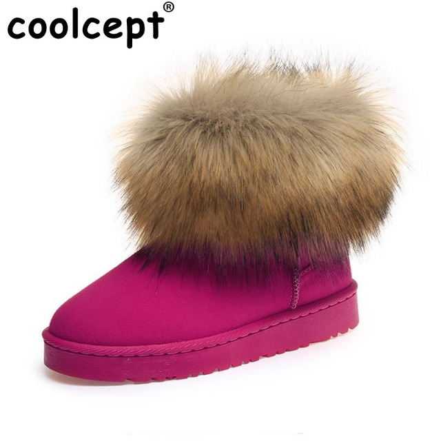 Coolcept Size35-40 Russia Winter Warm Thickened Fur Women Flat Half Short Ankle Snow Boots Plush Winter Footwear Boot Shoes