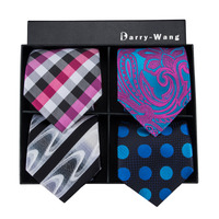 4P 7 Barry.Wang New Mens Tie High Quality Plaids Silk Jacquard Woven Necktie Hanky Cufflink Set For Wedding Party With Gift Box