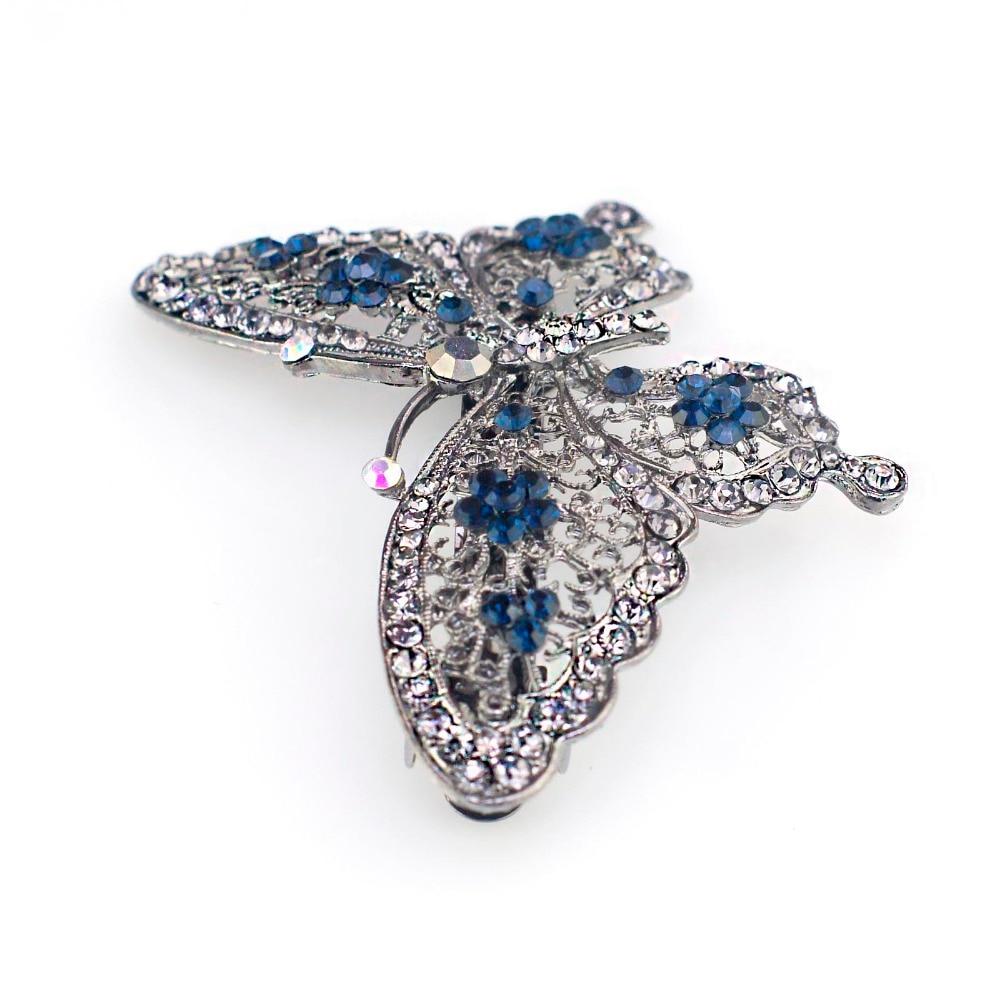 Amazing Butterfly Hairpin Mavi Kristal Baş geyimləri Barrette Saç - Moda zərgərlik - Fotoqrafiya 5