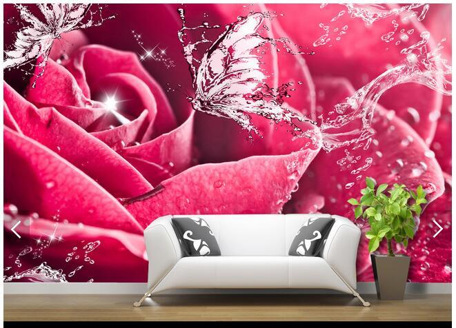 Livraison gratuite grand papier peint mural personnalisé eau Rose papillon 3D salon TV fond papier peint papier peint papier de parede