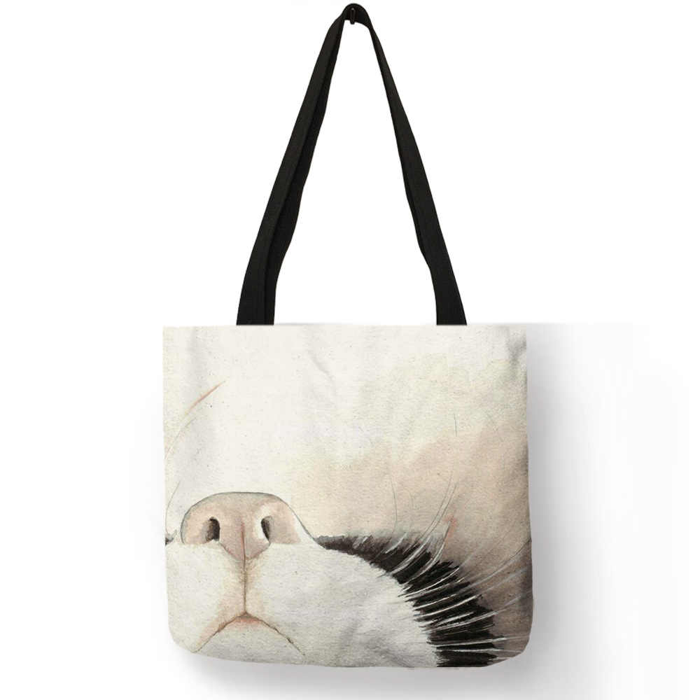 ecc54a864142 Watercolor Hand Painted Tote Bags Flower White Black Lovely Cat Print  Shoulder Bag Useful Office Daily