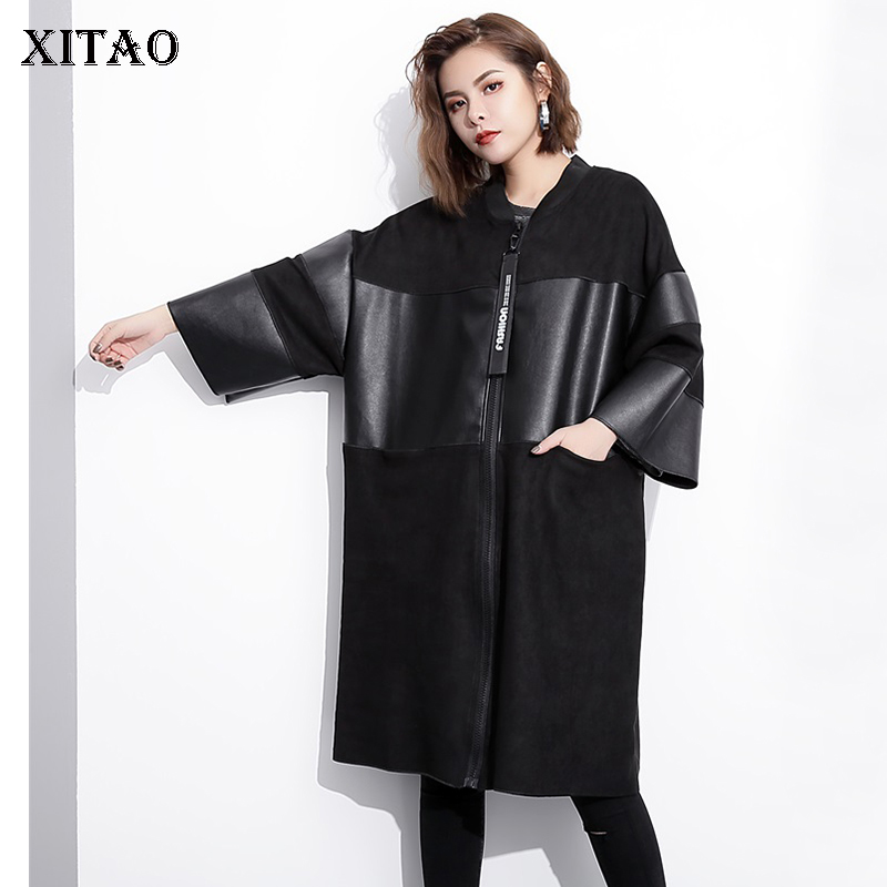 [XITAO] Wide-waisted Patchwork Women 2018 Korea Fashion V-neck Full Sleeve   Trench   Female Pocket Casual Long   Trench   HJH1022