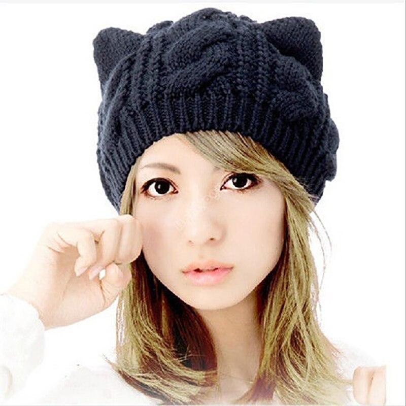 Для женщин skullies зимние вязать крючком Плетеный кошачьи уши берет Лыжная шапочка вязаная шапка Кепки