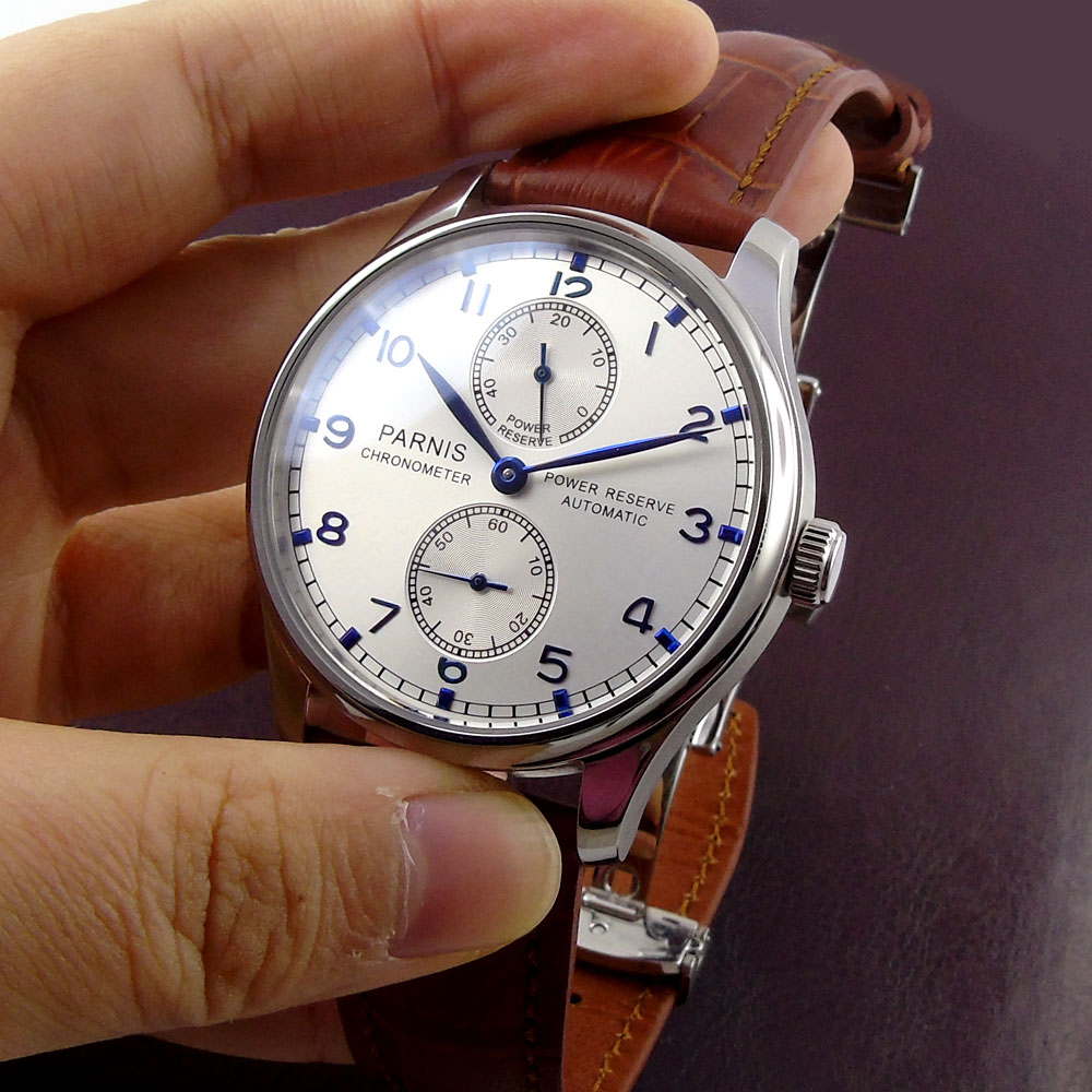 43mm parnis silver White dial Leather Chronograph Blue Marks SS Case Power Reserve ST 2542 Automatic Mechanical mens Watch