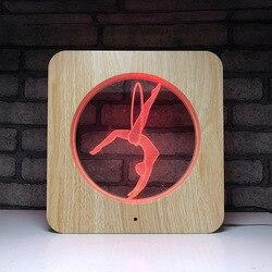Nowy led light kreatywne produkty drewna ziarna 7 kolor atmosfera lampa stołowa dotykowy 3d wizualne światło nocne gimnastyka dziewczyna