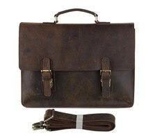 7223R-1 J.M.D Vintage Leather Men's  Briefcases Messenger Laptop Bag Dark Brown fit to office 5PCS/LOT