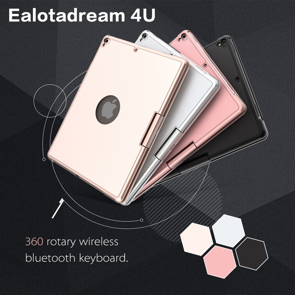 For ipad pro 9.7 case with keyboard 360 Degree Rotation ABS plastic case wireless bluetooth keyboard LED Backlit yd k356 bluetooth v3 0 78 key keyboard 360 degree rotational abs case for ipad 2 3 4 white
