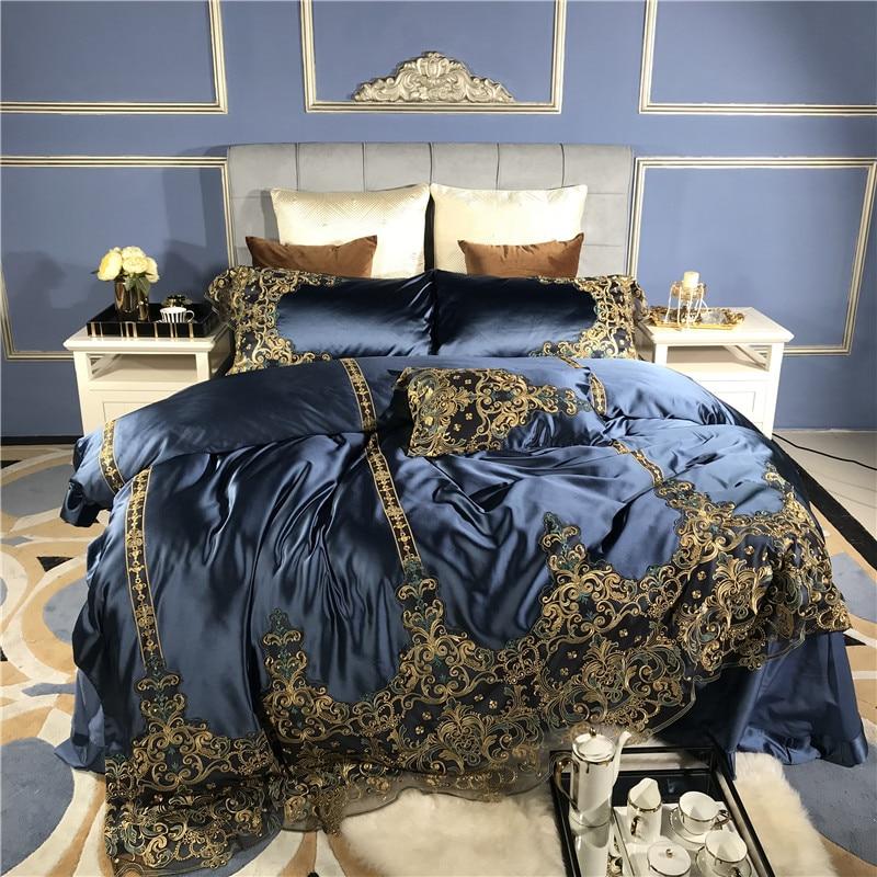 Azul de lujo romántico de encaje dorado bordado 100 S de seda de algodón real suave ropa de cama juego de edredón funda de cama sábanas de lino fundas de almohada-in Juegos de ropa de cama from Hogar y Mascotas    1