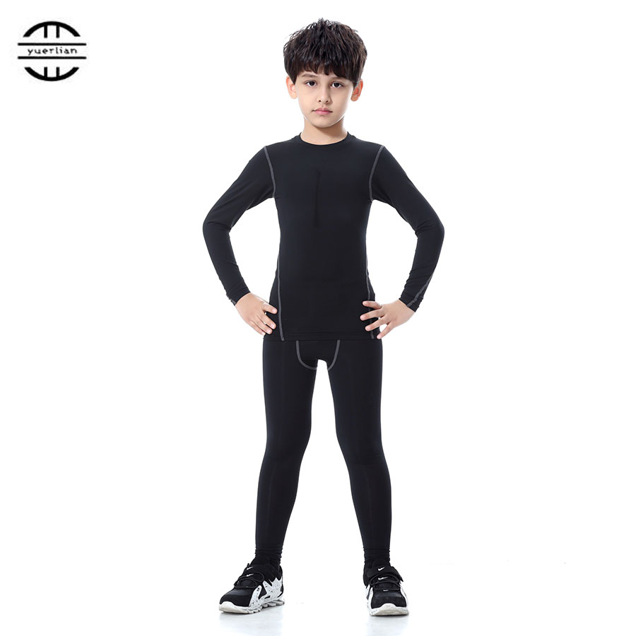 Yuerlian Children Compression Wicking sport suit Fitness Tight Tracksuit Long Sleeve T-shirt leggings Pant Kids Gym Running Set