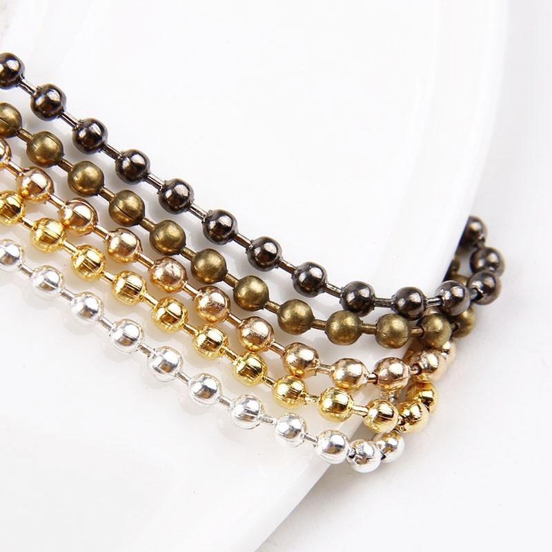 2PCS 2.4mm Metal Ball Beaded Chains Gold/Silver/Rose Gold/Antique Bronze/Gun Black Color Fitting Making DIY Necklace Bracelets