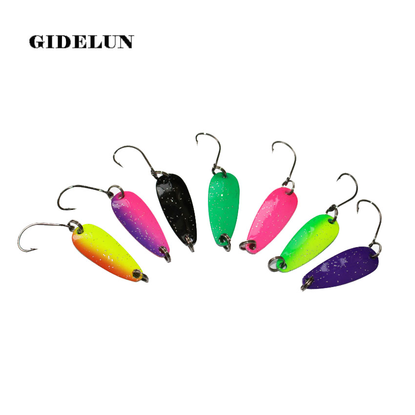 free shipping 7pcs mix colors 2.8cm 2.5g fishing spoon lure swim bait artificial trout lure pesca fishing tackle