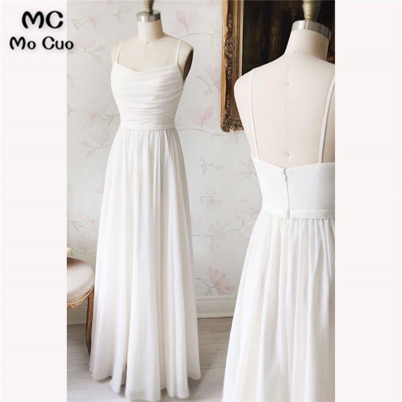 Elegant 2018 New White   Bridesmaid     Dresses   Spaghetti Straps Floor Length Zipper Back Chiffon Wedding Party   Dress   Robe de Soiree