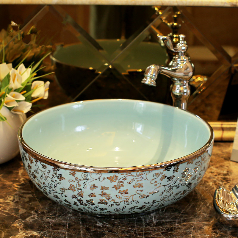 Silver Maple Leaves Pattern Chinese Wash Basin Sink Bathroom Bowl Countertop Ceramic In Sinks From Home Improvement