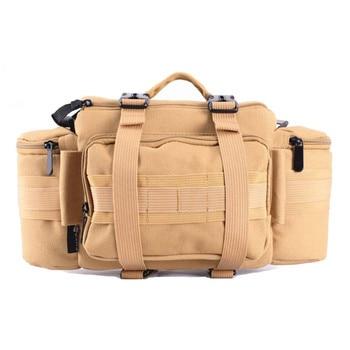 Photo DSLR Multifunctional Waist Rucksack Canvas Tactical Case Camera Soft Pack Molle Single Shoulder Bag w/ Rain Cover Camera/Video Bags