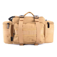Photo DSLR Multifunctional Waist Rucksack Canvas Tactical Case Camera Soft Pack Molle Single Shoulder Bag w/ Rain Cover