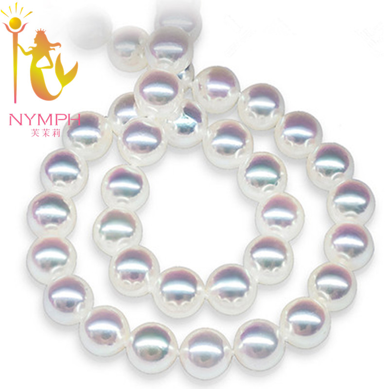 NYMPH Pearl Jewelry Natural Freshwater Pearl Necklace 8 9mm Round Collar Beads Stone Gift With Box