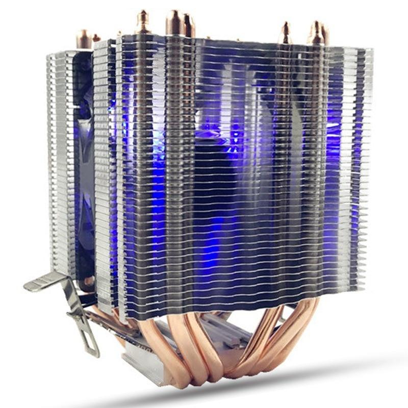 все цены на  LED Blue Light CPU Fan 6X Heat Pipe For Intel LAG 1155 1156 AMD Socket AM3/AM2 High Quality Computer Cooler Cooling Fan For CPU  онлайн