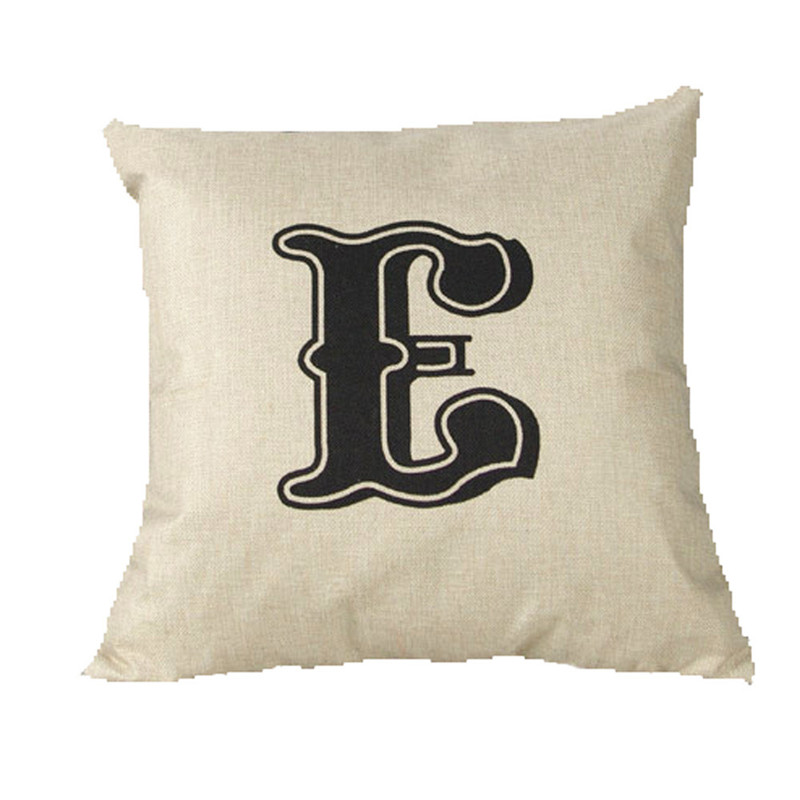 45*45cm Simple E letters pillowcase slip vintage design home decal cushion case pillow cover living room drop shipping on sale