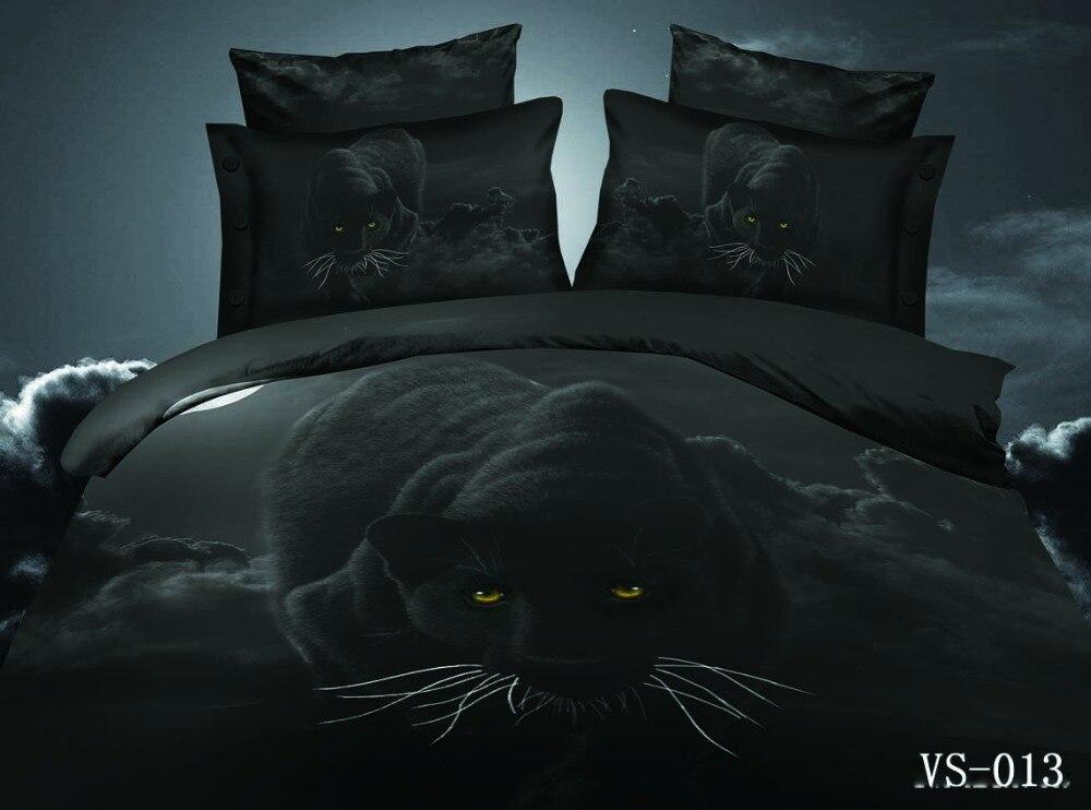 Black Panther Animal 3d Duvet Cover Sets 3pc Polyester