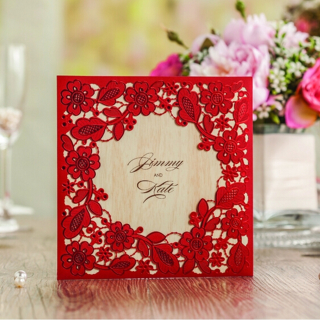 10 pieceslot Hollow Out Lace Wedding Invitations Red Gold White