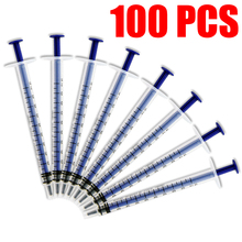 hot 1mL 100pcs Disposable Sampler Plastic Syringe Cubs Measuring Nutrient Hydroponic epoxy resin syringe With Cover Measuring