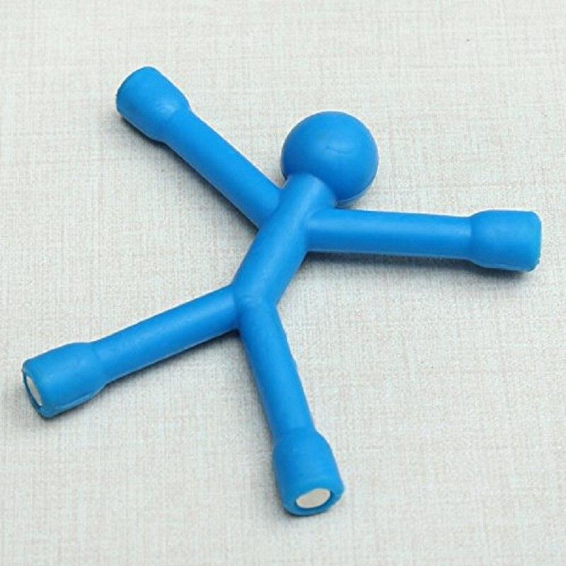 Одноцветные магниты на холодильник для мужчин Q-Man Qman для детей, новинка, научная игрушка, магнитная фигурка для офиса, холодильник, бумага, фото, зажим, наклейка - Цвет: sky blue