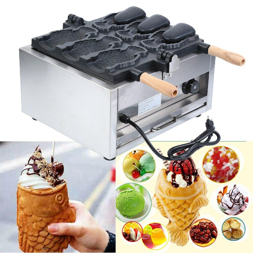 (Ship from US) 110V Nonstick Electric Fish Type Waffle Machine Japanese ice cream Taiyaki Making Machine