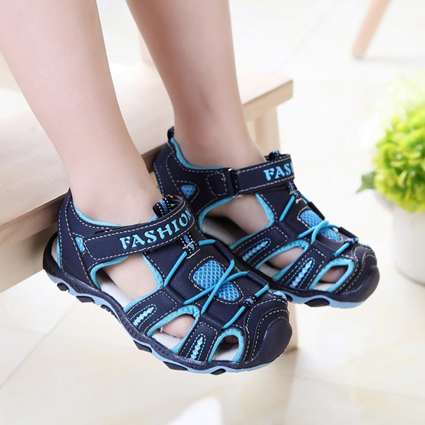 children's Sandals High quality Kids Shoes Baby Boy Girl Closed Toe Summer Beach sport pu leather Sandals Shoes Sneakers