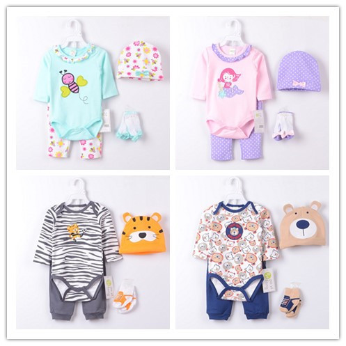 Baby Girls Suits Baby Gear 4pcs sets Childrens Trousers Bibs Sock Rompers HOT SALE
